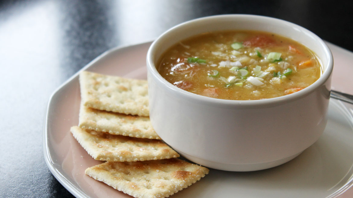 Warm up with soup and crackers