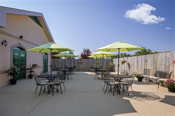 funeral home outdoor reception space